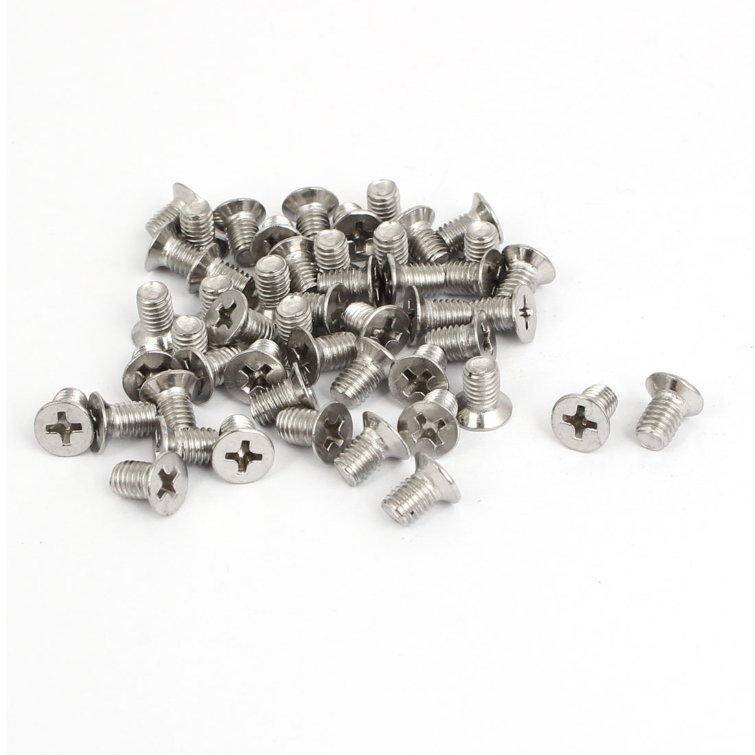 M5x8mm Stainless Steel Countersunk Flat Head Cross Phillips Screw Bolts 50pcs