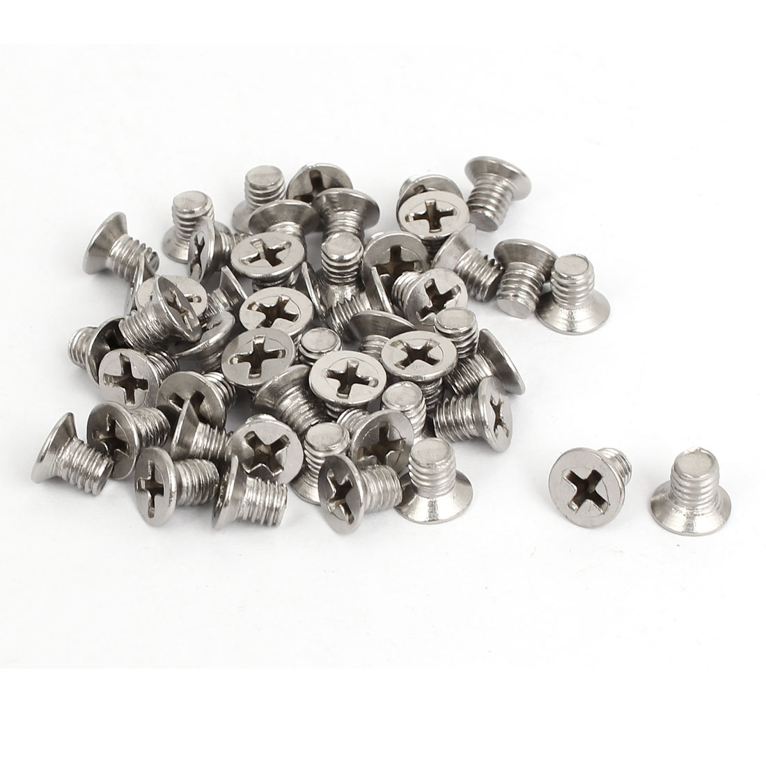 M6x8mm Stainless Steel Countersunk Flat Head Cross Phillips Screw Bolts 50pcs