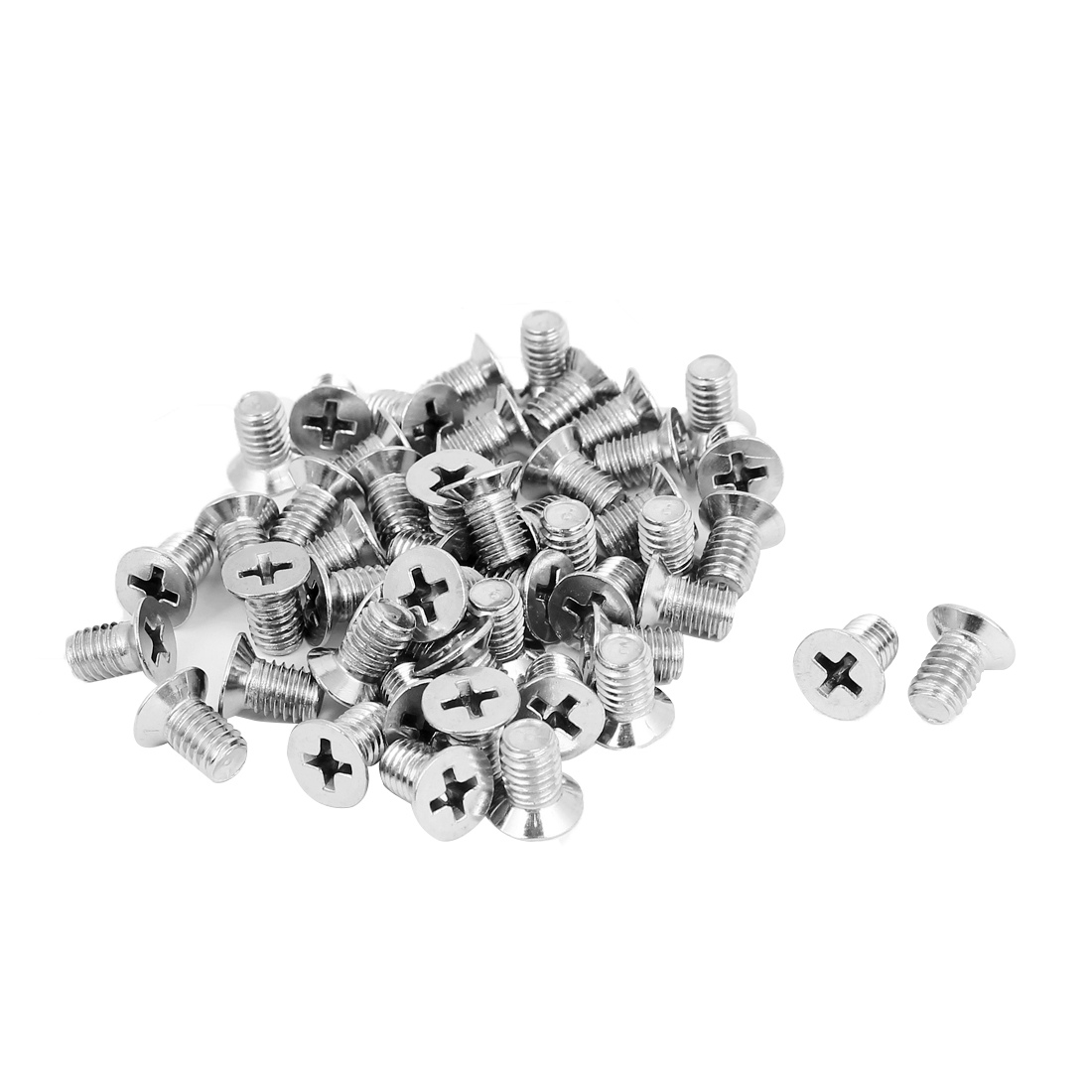 M6x10mm Stainless Steel Countersunk Flat Head Cross Phillips Screw Bolts 50pcs