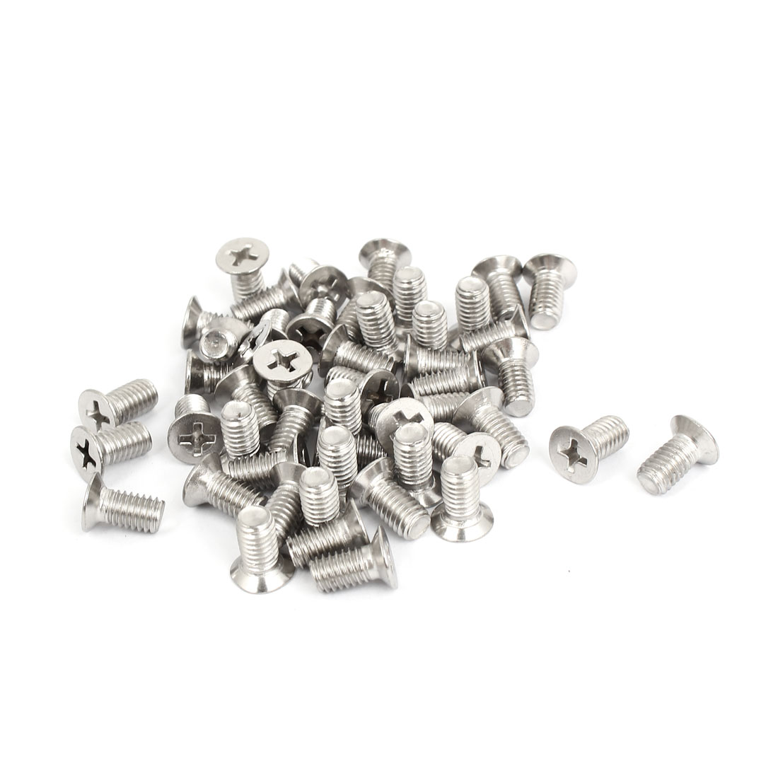 M6x12mm Stainless Steel Countersunk Flat Head Cross Phillips Screw Bolts 50pcs