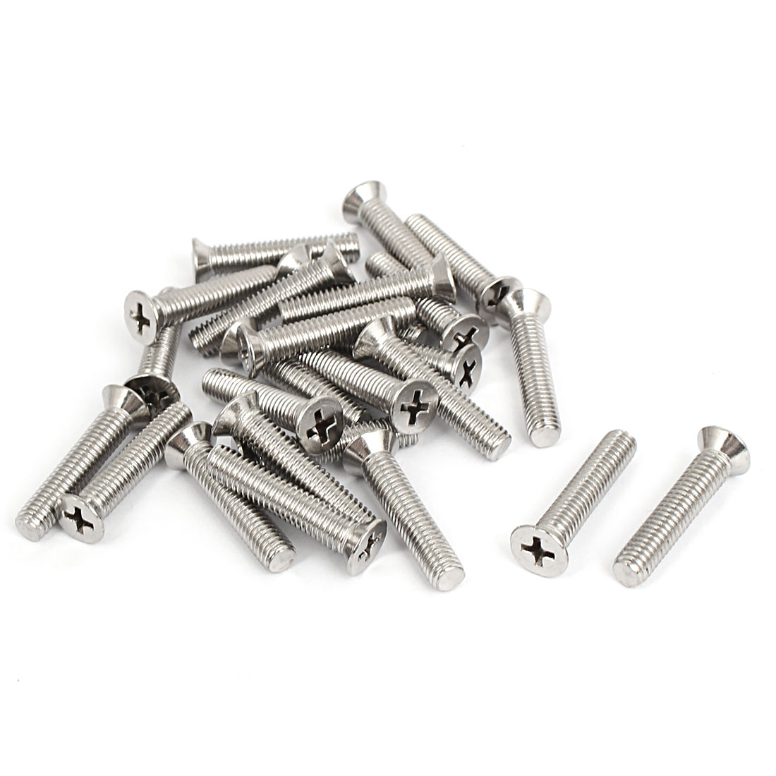 M6x30mm Stainless Steel Countersunk Flat Head Cross Phillips Screw Bolts 25pcs