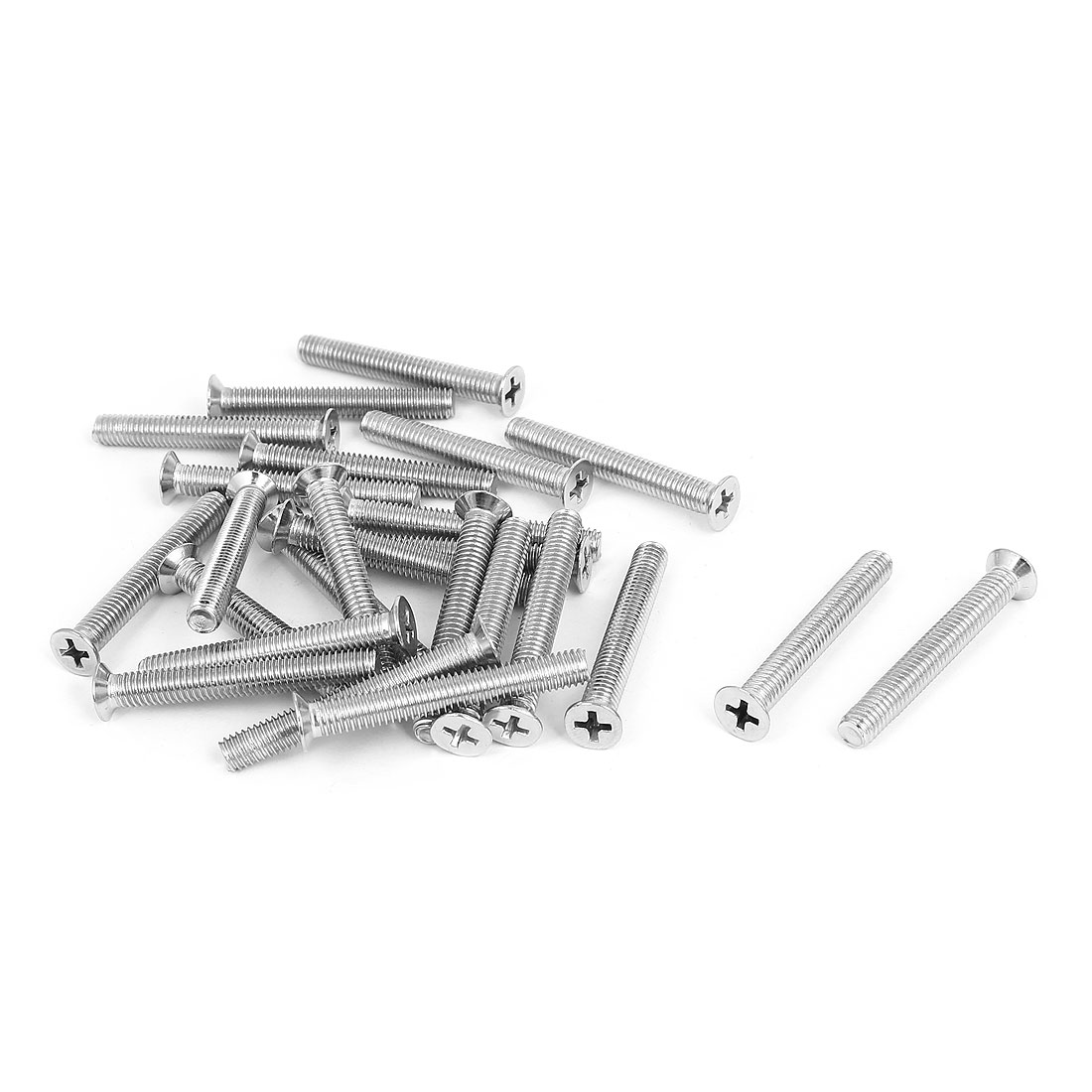 M6x45mm Stainless Steel Countersunk Flat Head Cross Phillips Screw Bolts 25pcs