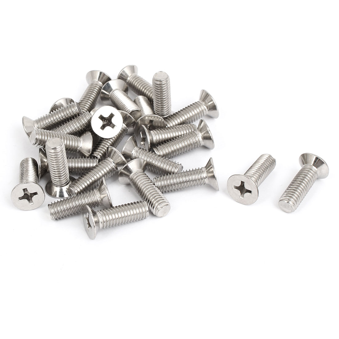 M8x25mm Stainless Steel Countersunk Flat Head Cross Phillips Screw Bolts 25pcs