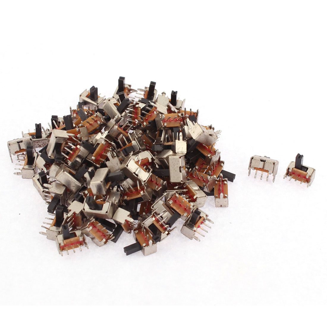 100pcs SPDT On/Off 3 Terminals PCB Panel Vertical Slide Switch DIY Projects