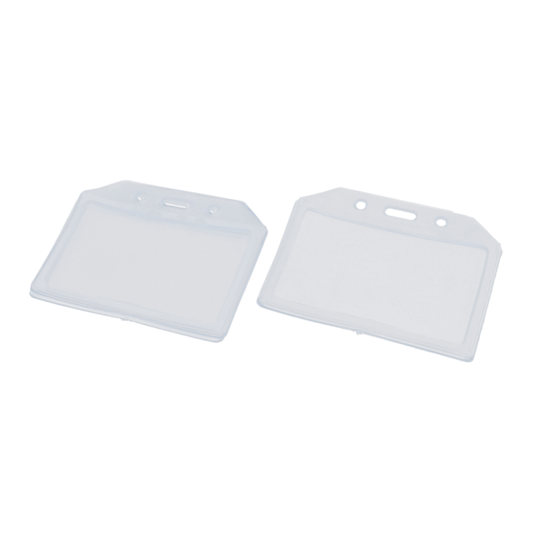 3pcs Clear Plastic Horizontal ID Badge Name Card Pocket Holders
