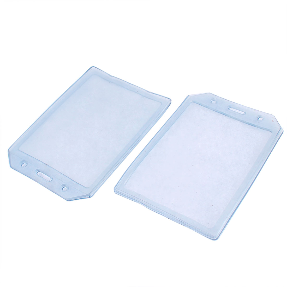 Clear Vertical Plastic B7 Badge ID Card Holder Case Protector 2pcs