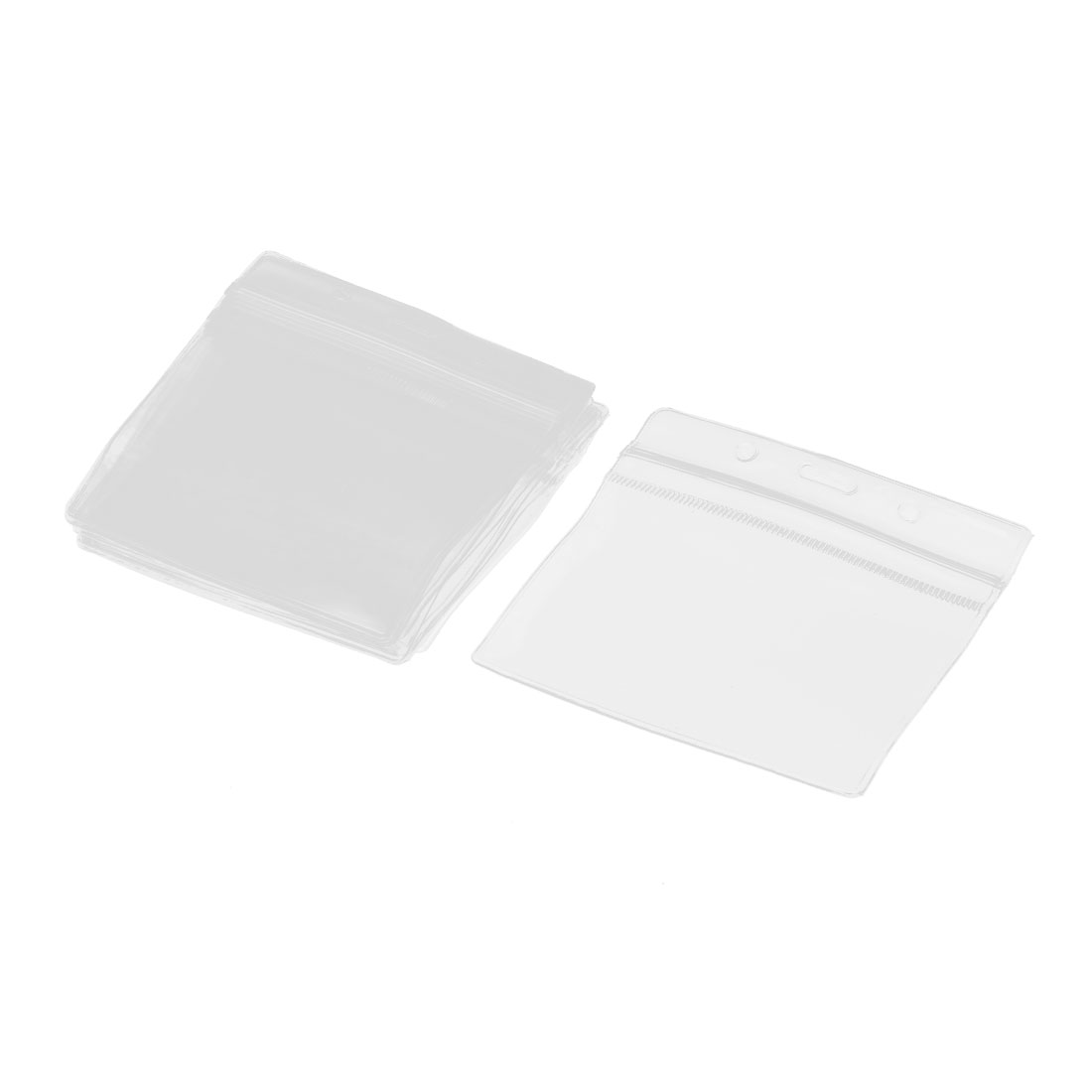 12pcs Horizontal Clear Plastic ID Badge Card Holder Case Pouchs