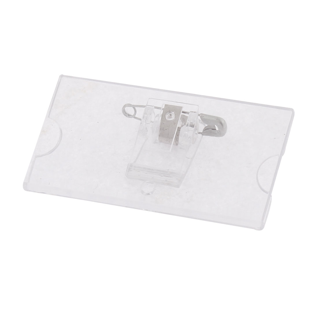 Clear Plastic Safetypin Name Tag Clip Badge Card Holder 4pcs