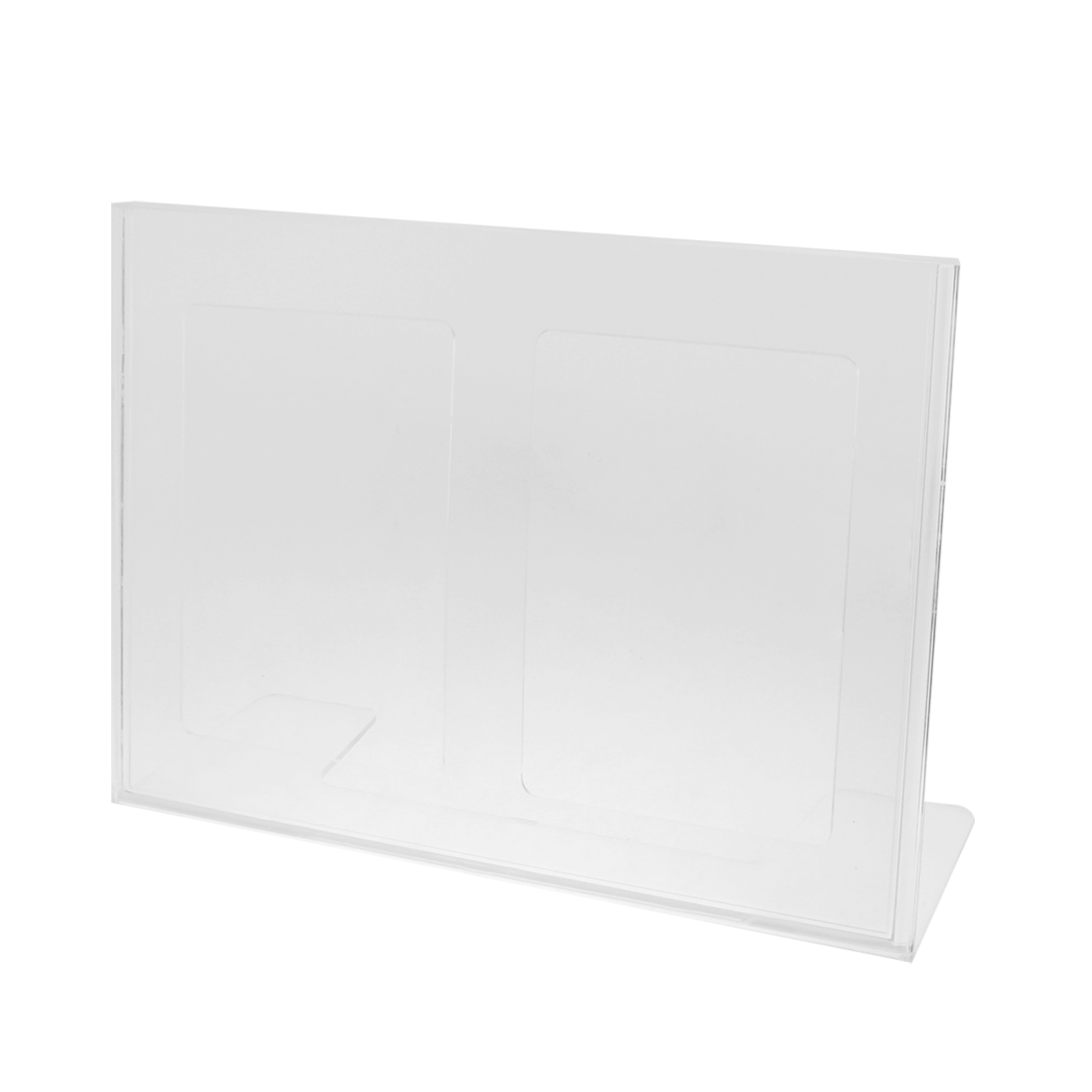 Clear Plastic Horizontal L-Shape Business Card Holder Display Stand