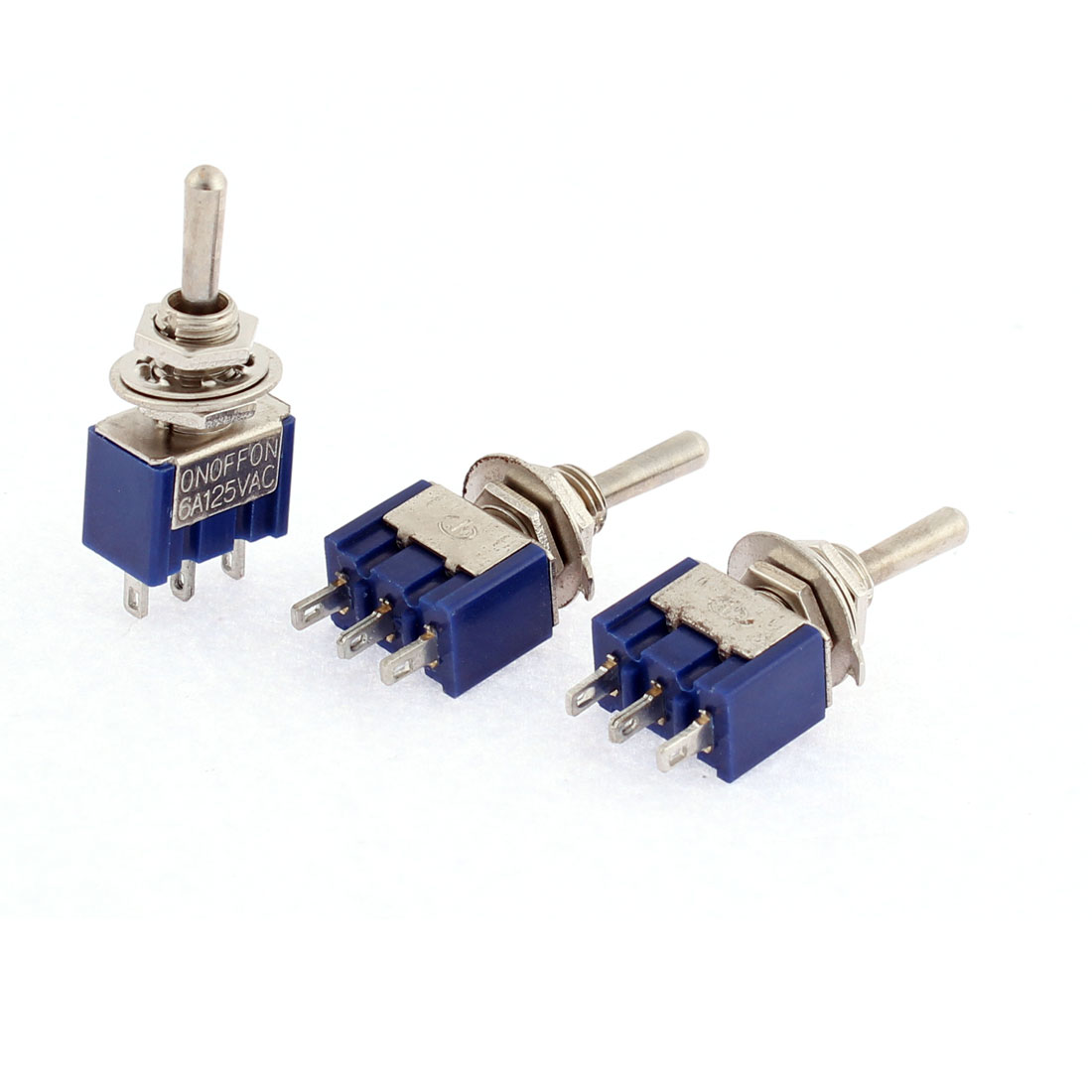 3pcs 3 Terminals SPDT On/Off/On Toggle Switch Blue AC 125V 6A