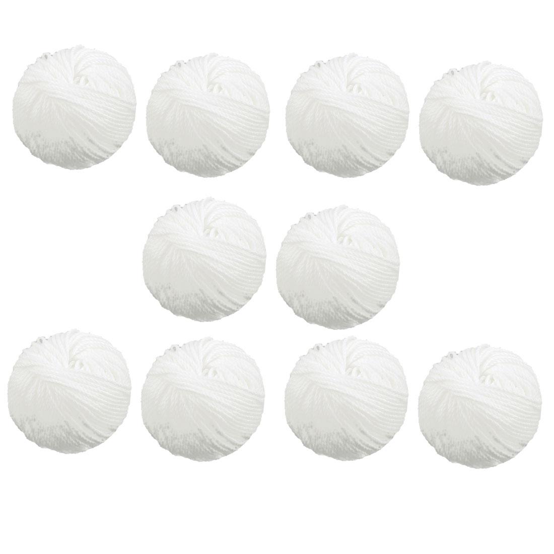 Crochet Knitting Sewing Cotton Thread Balls White 33Ft Long 10pcs
