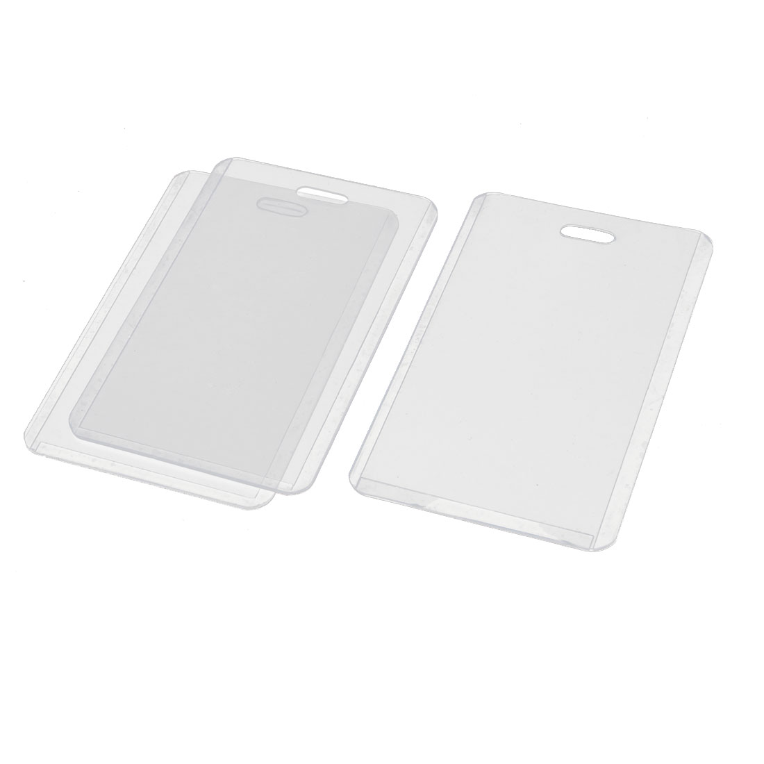 Clear Plastic Vertical Business ID Card Badge Holder Case Pouch 3pcs