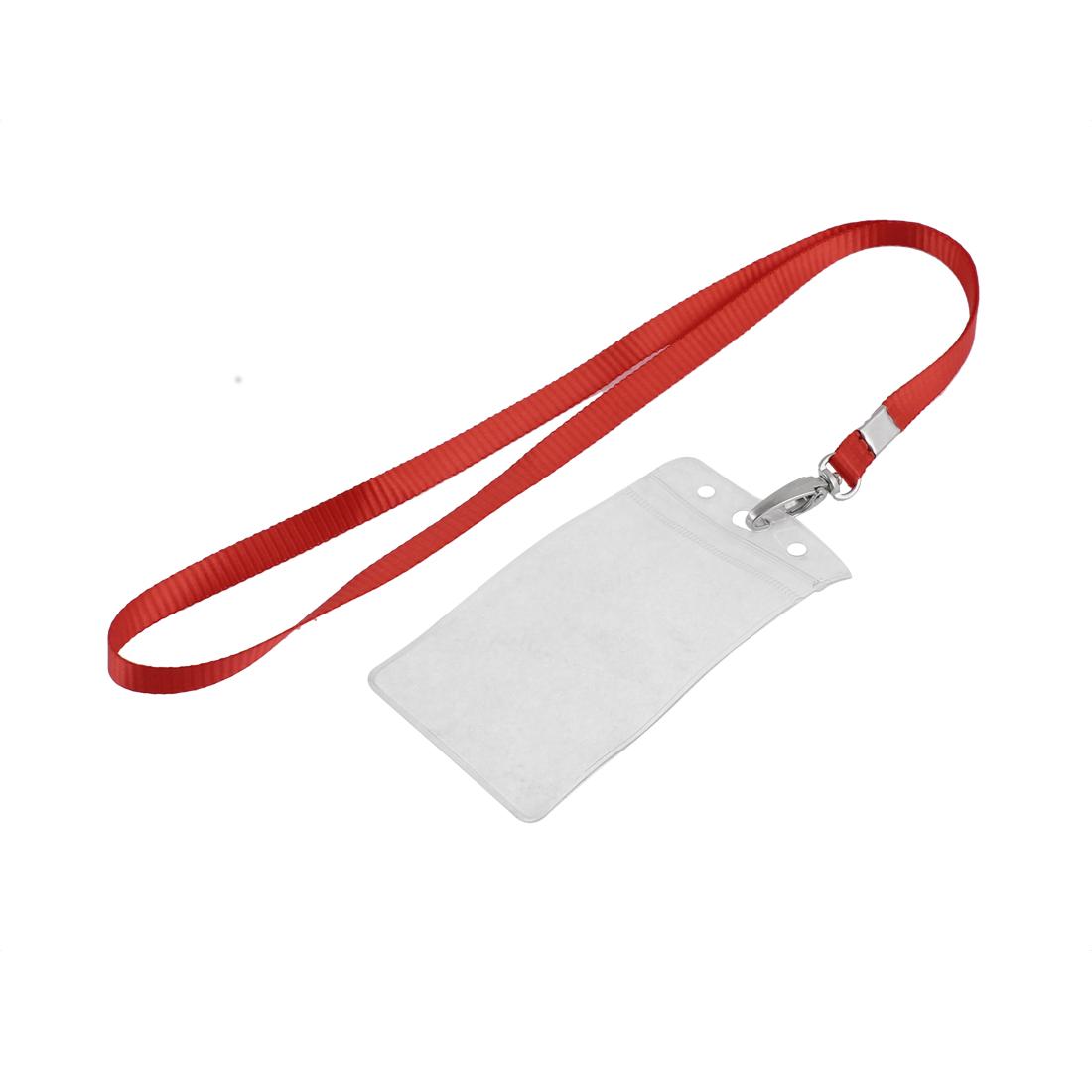 Plastic Vertical Lanyard ID Badge Card Holder Case Pocket Neck Strap