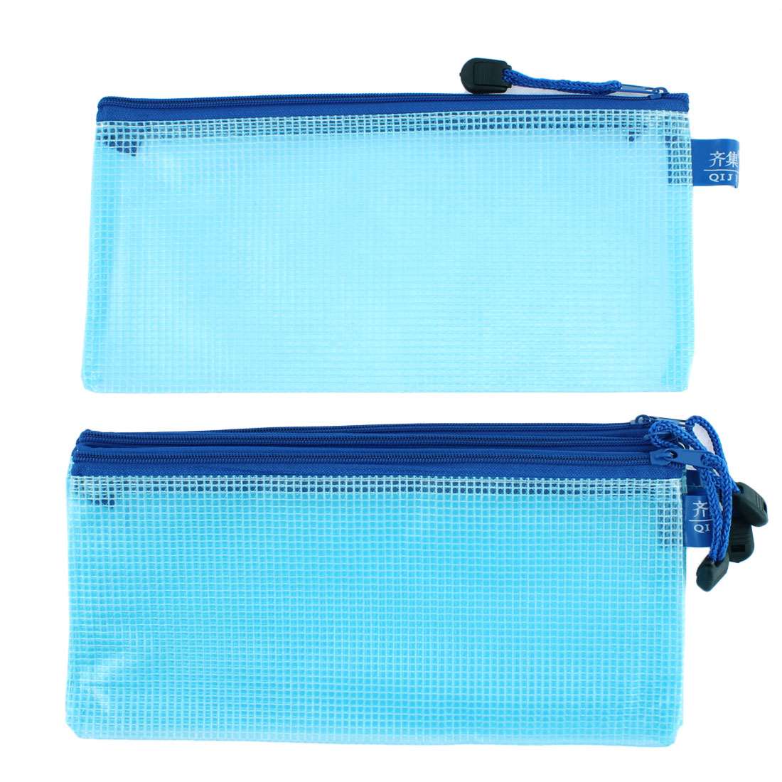 Blue Plastic Zip Closure A5 File Document Bag Pocket Holder 4pcs