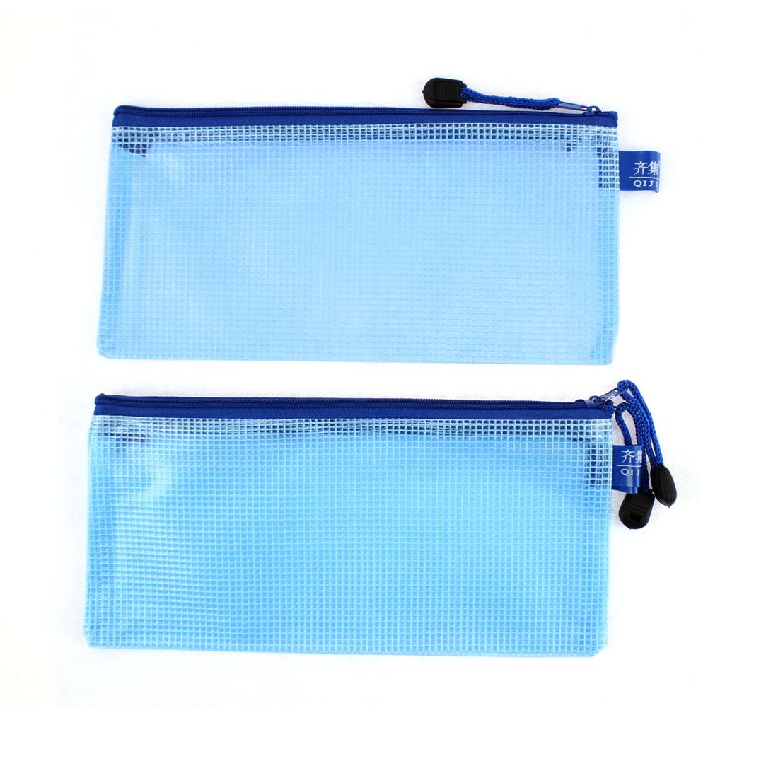 Blue Office File Document Folder Bag Mesh Pouch Holder Organizer 3pcs