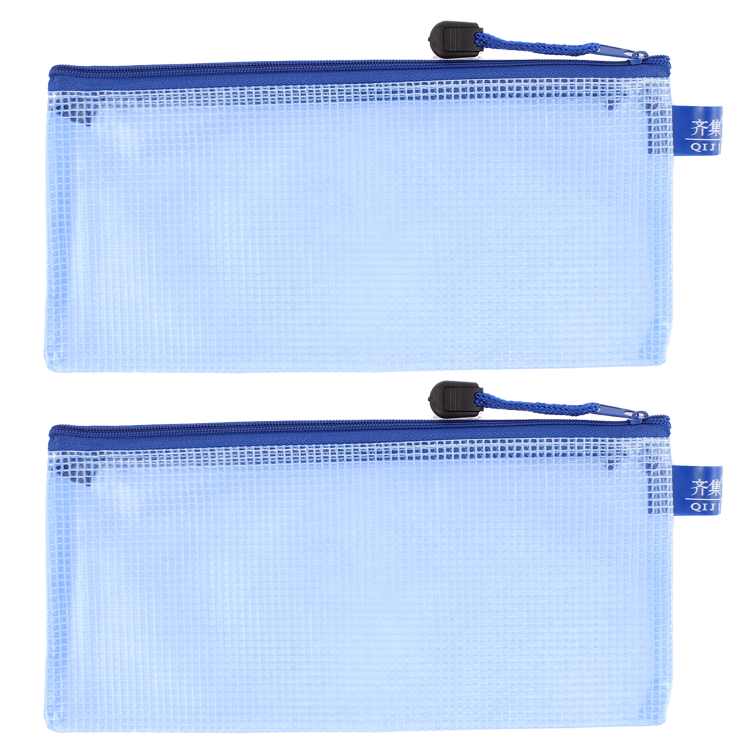 Zipper Closure Blue Nylon Mesh A5 Document File Bags Holder Organizer 2pcs