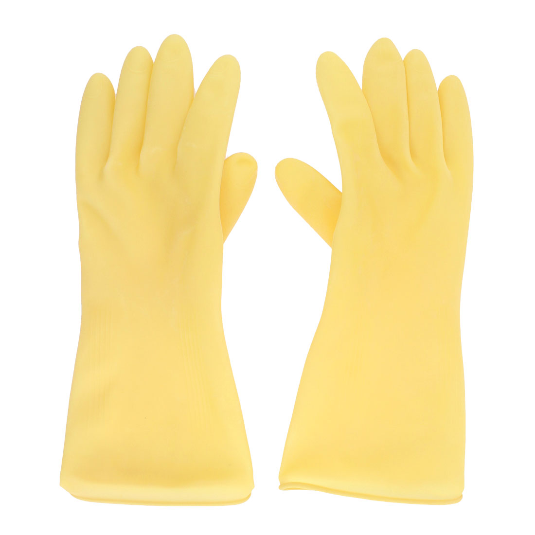House Work Clean Washing Warm Dry Latex Gloves Hand Protector Yellow Pair