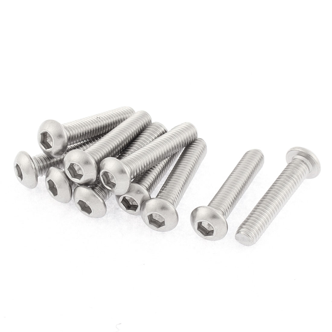 10pcs 304 Stainless Steel M6 Thread Button Head Hex Socket Screws Fasteners
