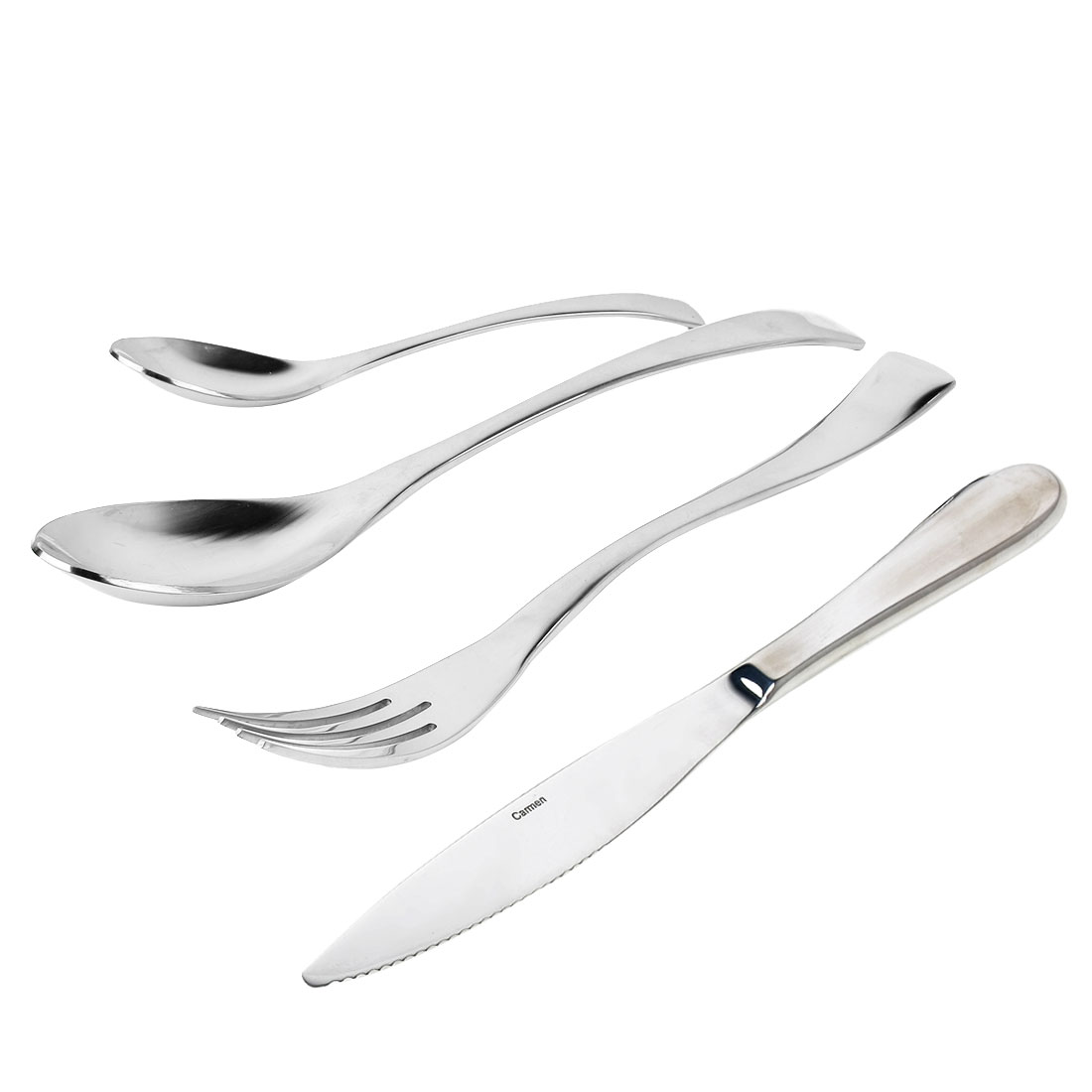 Casa-J 4 Pieces Serving Flatware Cutlery Set, 18/10 Stainless Steel, Service for 1