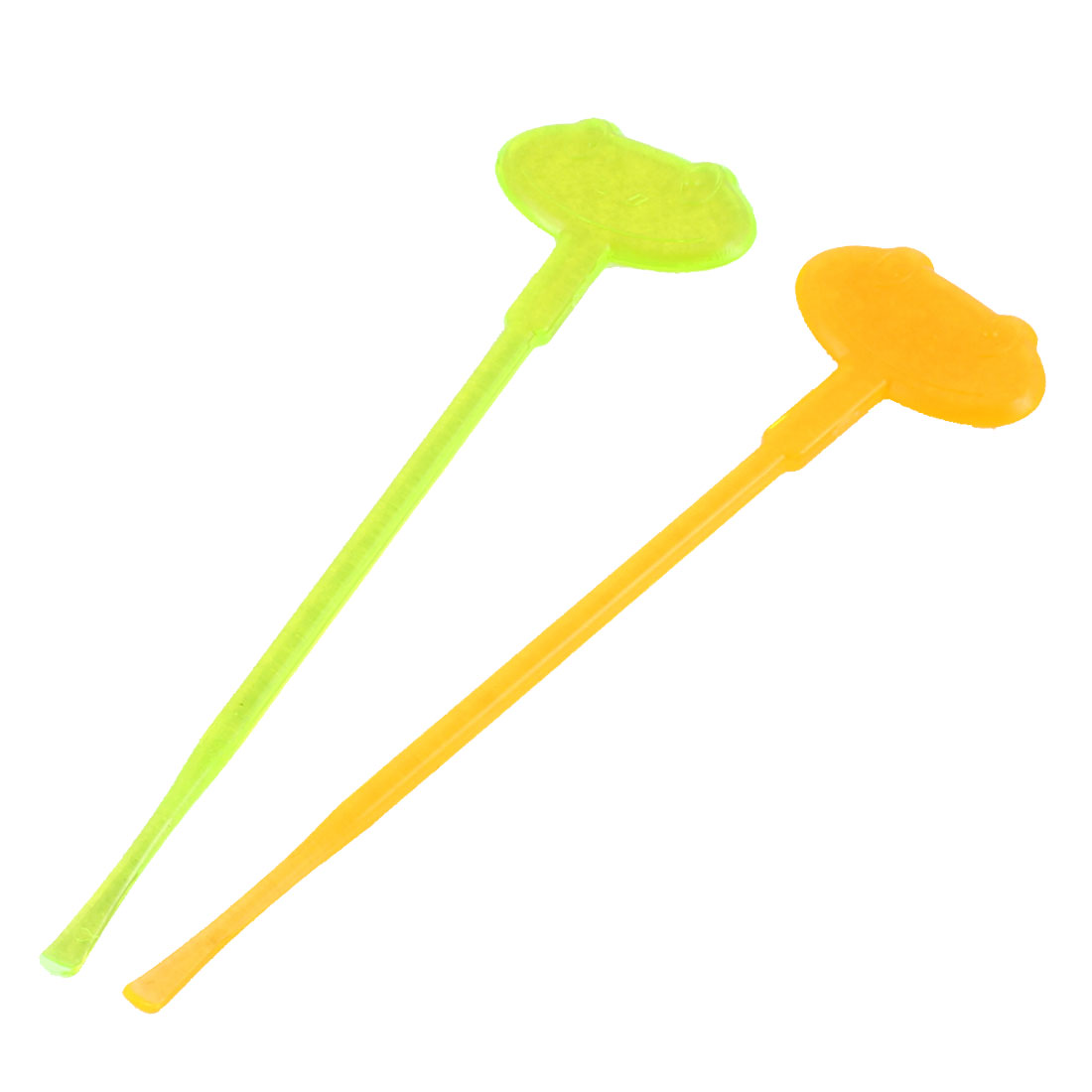 Plastic Earpick Ear Wax Remover Cleaner Beauty Tool Green Orange 2pcs