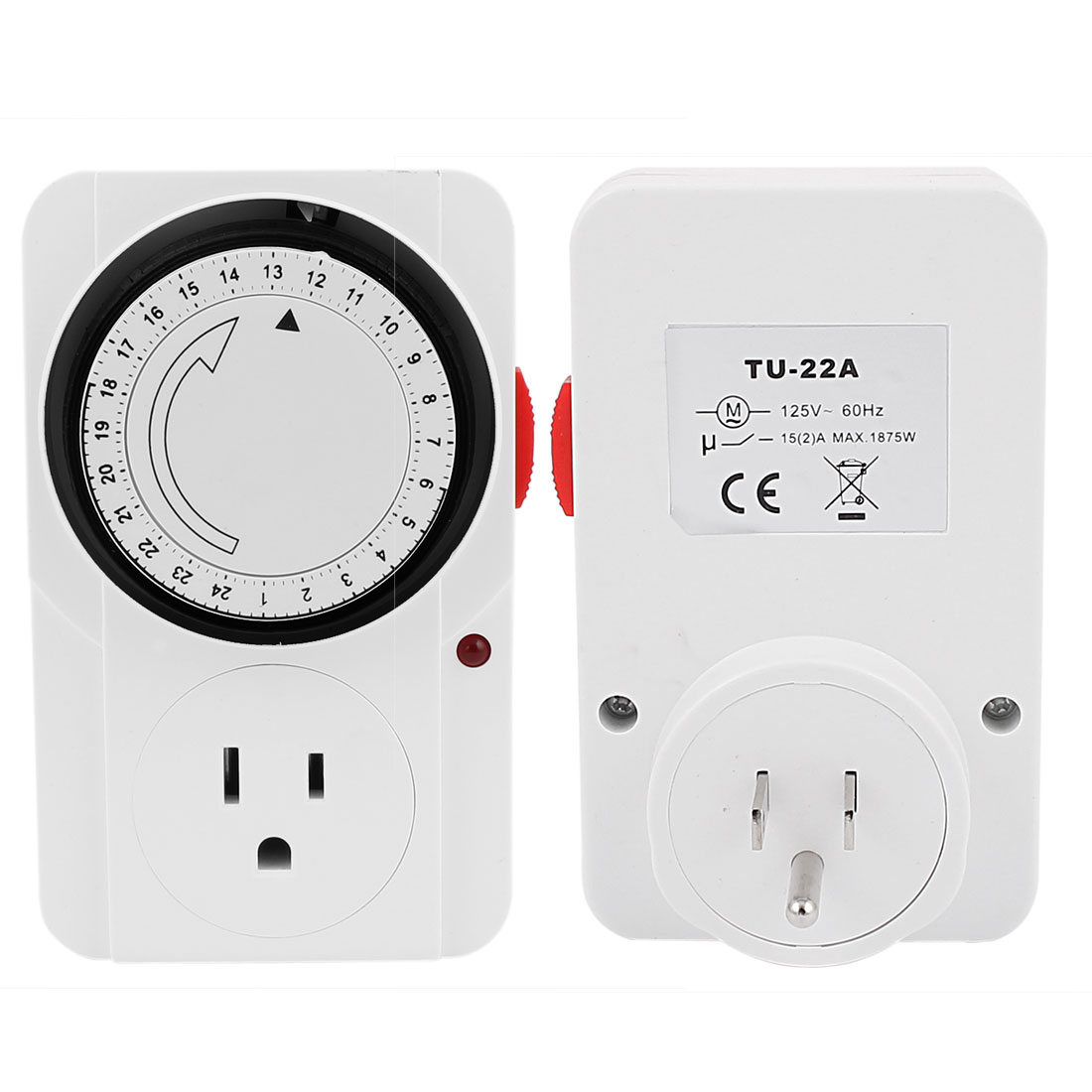 AC 125V US Plug 24 Hour 24hr Mains Time Switch Timer US Socket Adapter
