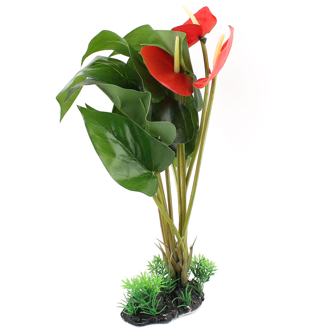 Fabric Leaf Zantedeschia Accent Aquatic Plant Fish Tank Aquarium Decor