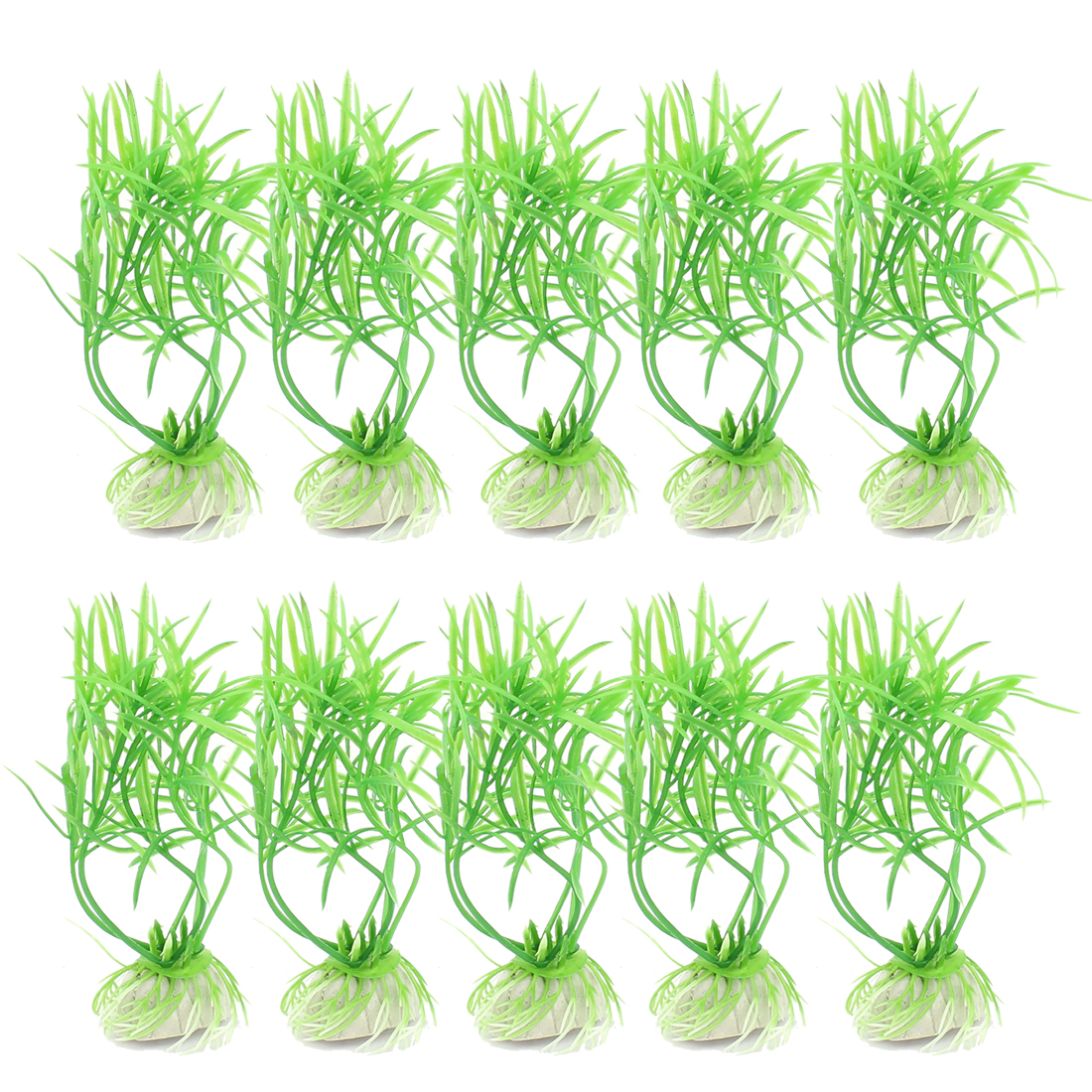 Plastic Underwater Aquatic Plant Fish Tank Aquarium Decoration Green 10PCS