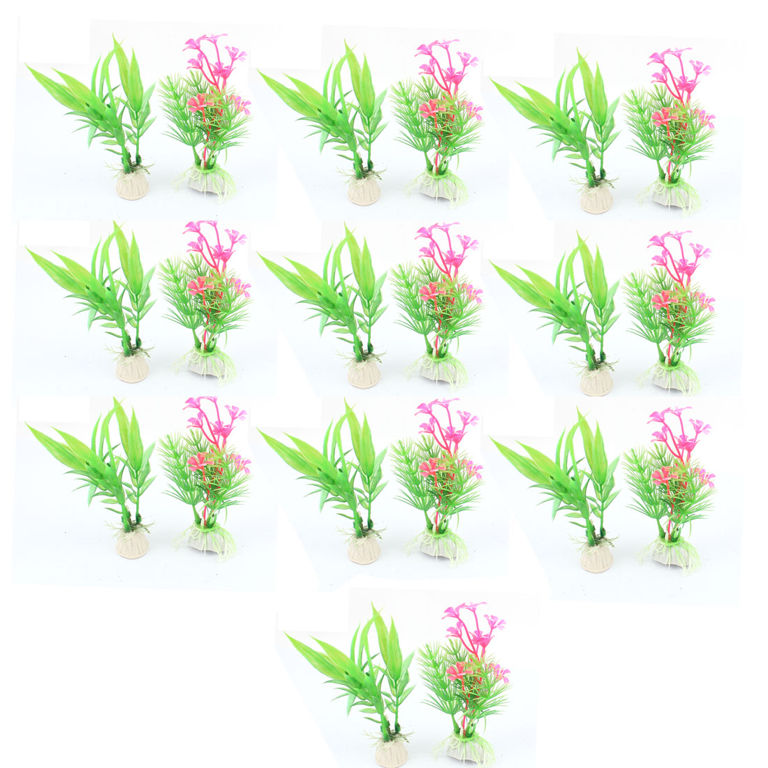 Ceramic Base Plastic Sea Weeds Grass Aquarium Plants Decor 20pcs