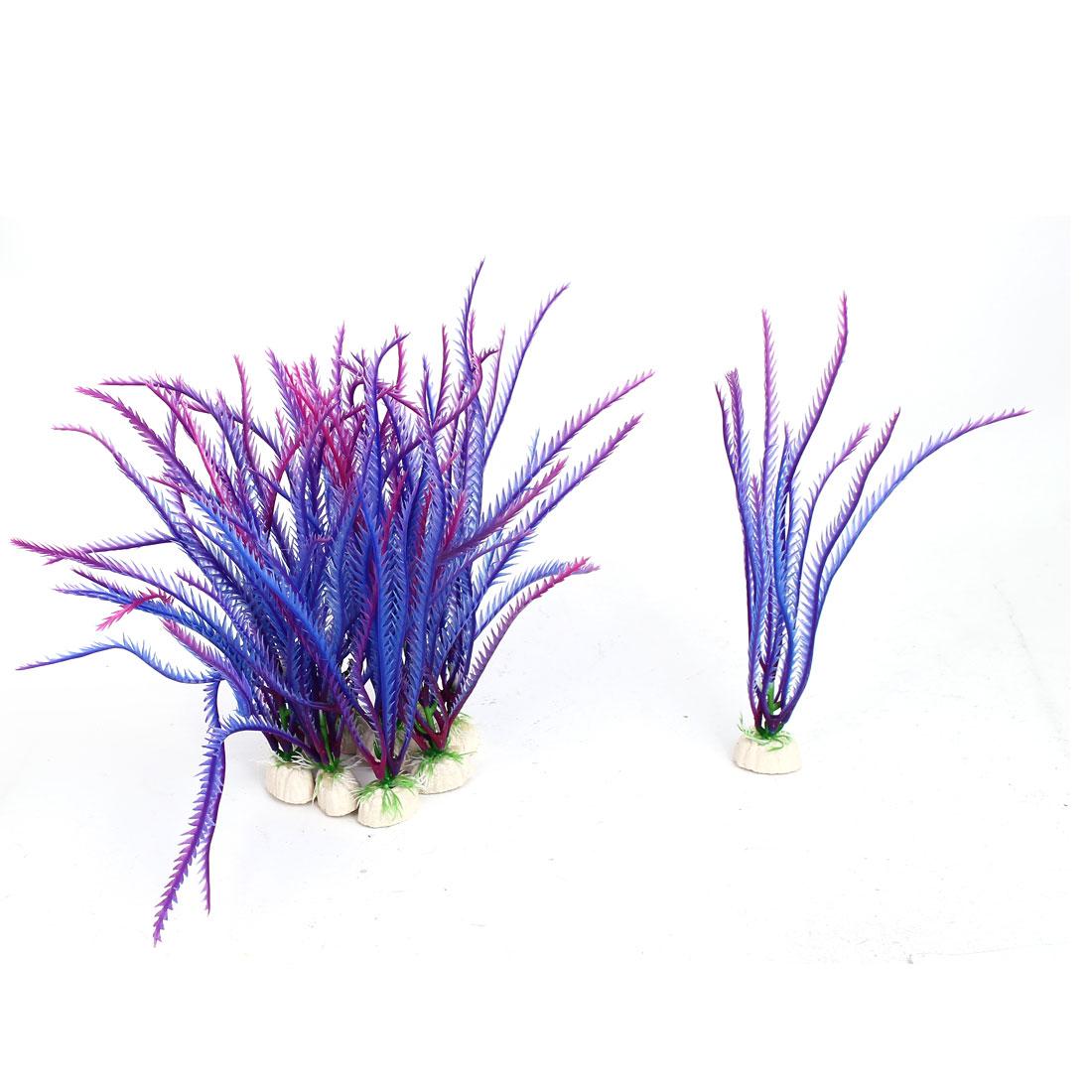 Aquarium Fish Tank Artificial Fake Water Plant Grass Decor Ornament Purple 10Pcs