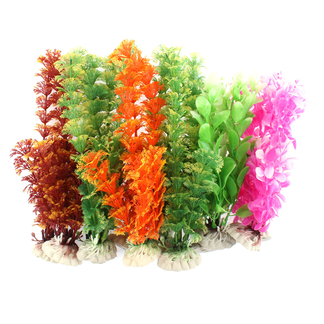 Aquarium Plastic Artificial Aquatic Plant Decor Assorted Colors 12 Pcs Assorted Color