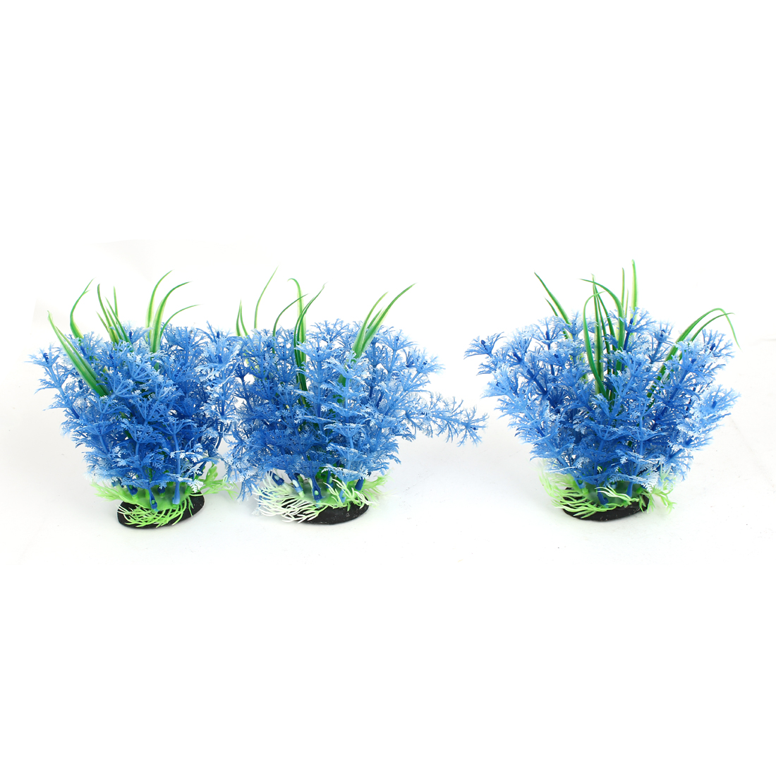 Aquarium Fish Tank Artificial Fake Water Plant Grass Decor Ornament Blue 3Pcs