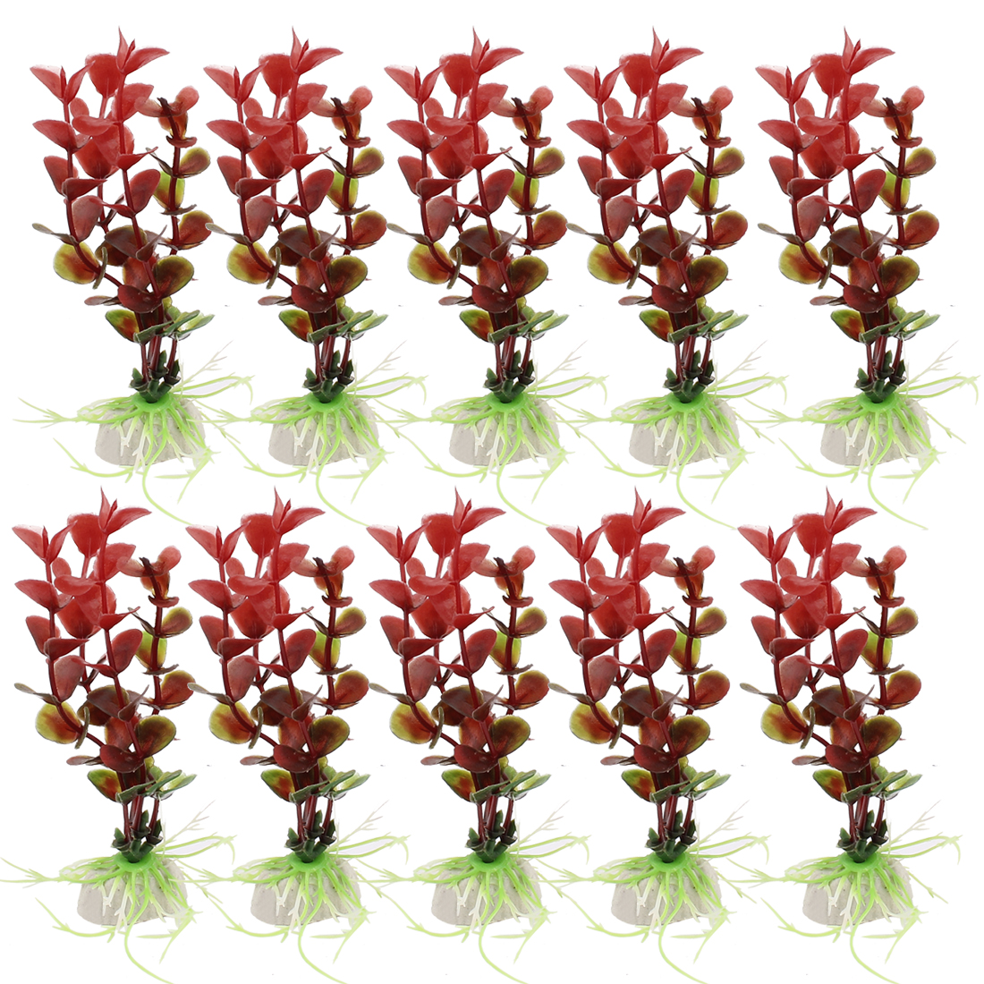 Ceramic Base Plastic Sea Weeds Aquarium Plant Grass Decoration 10PCS