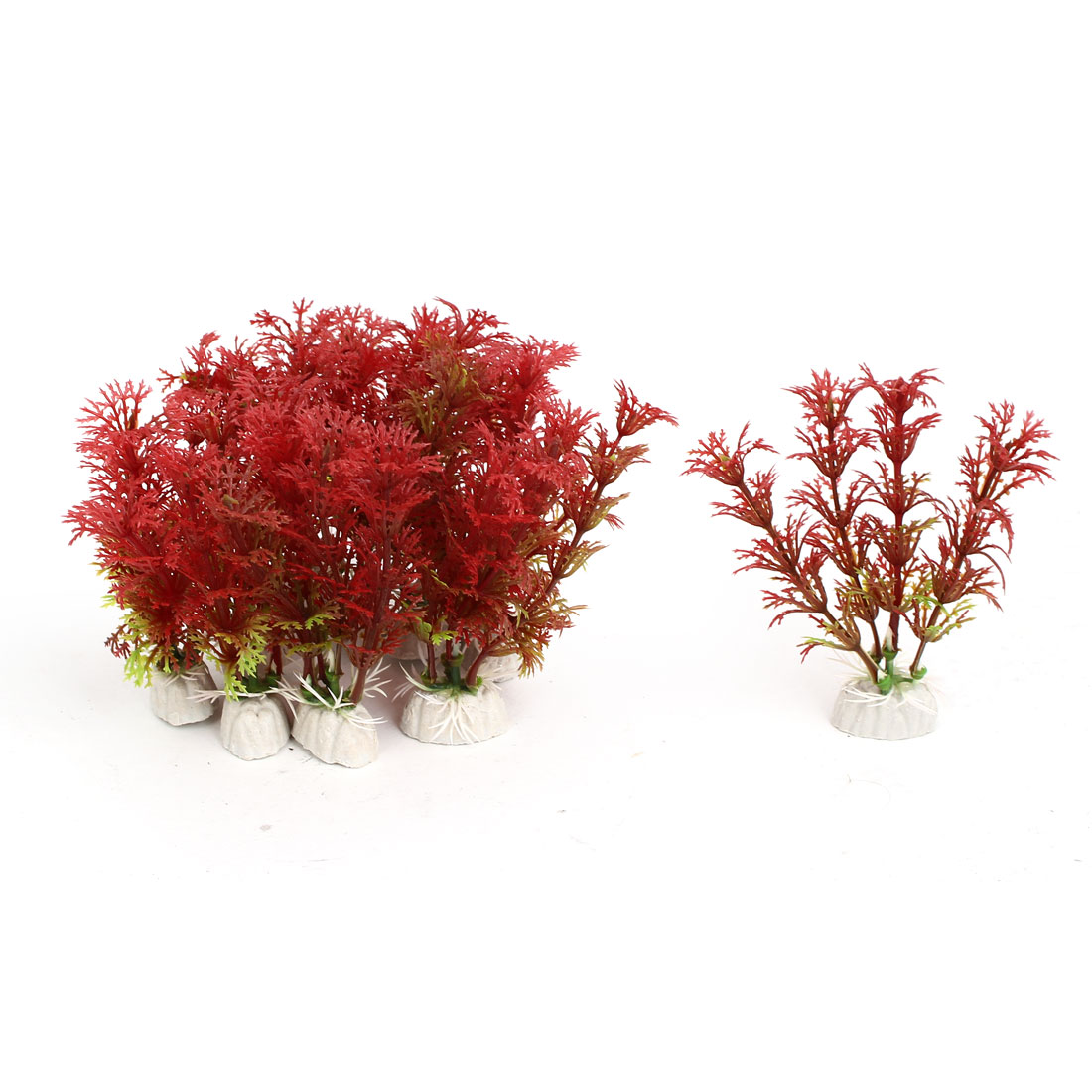 Aquarium Fish Tank Artificial Fake Water Plant Grass Decor Ornament Red 10Pcs