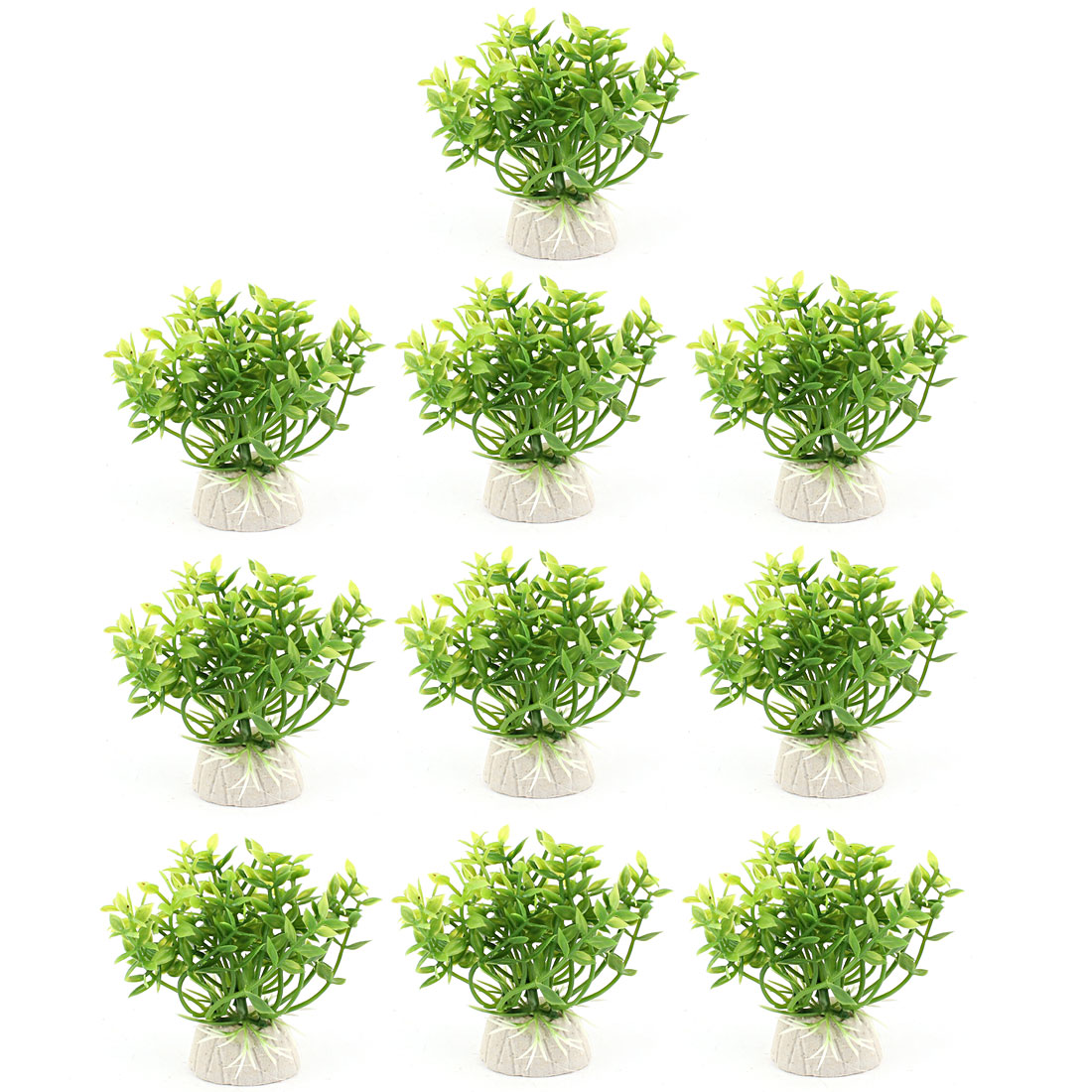 Plastic Leaf Aquatic Plant Fish Tank Aquarium Decor Green 10PCS