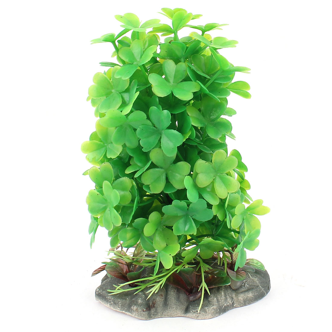 Plastic Leaf Clover Accent Aquatic Plant Fish Tank Aquarium Decor Green