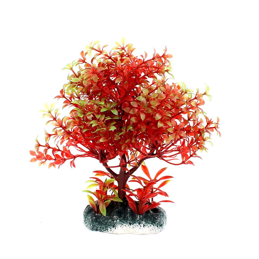 Plastic Underwater Aquatic Plant Fish Tank Aquarium Decor Dark Red