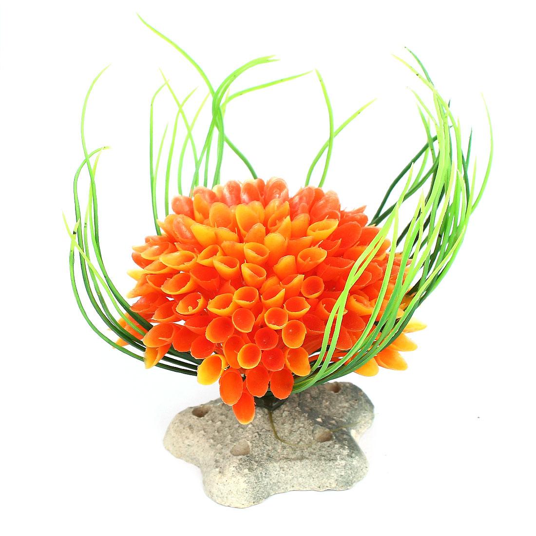 Aquarium Fish Tank Bowl Star Base Plastic Plant Bouquet Decor Ornament Orange
