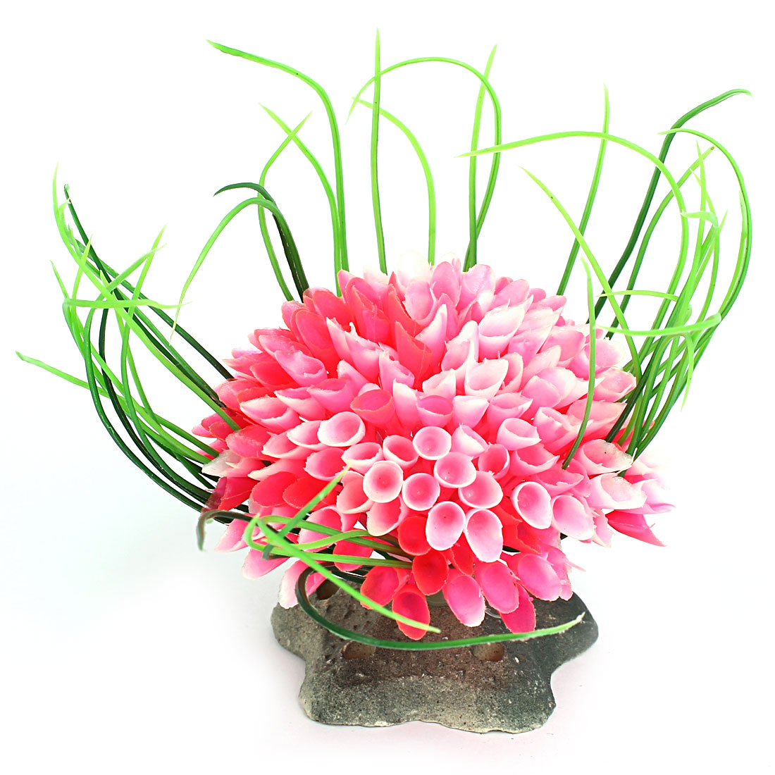 Aquarium Fish Tank Bowl Star Base Plastic Plant Bouquet Decor Ornament Pink