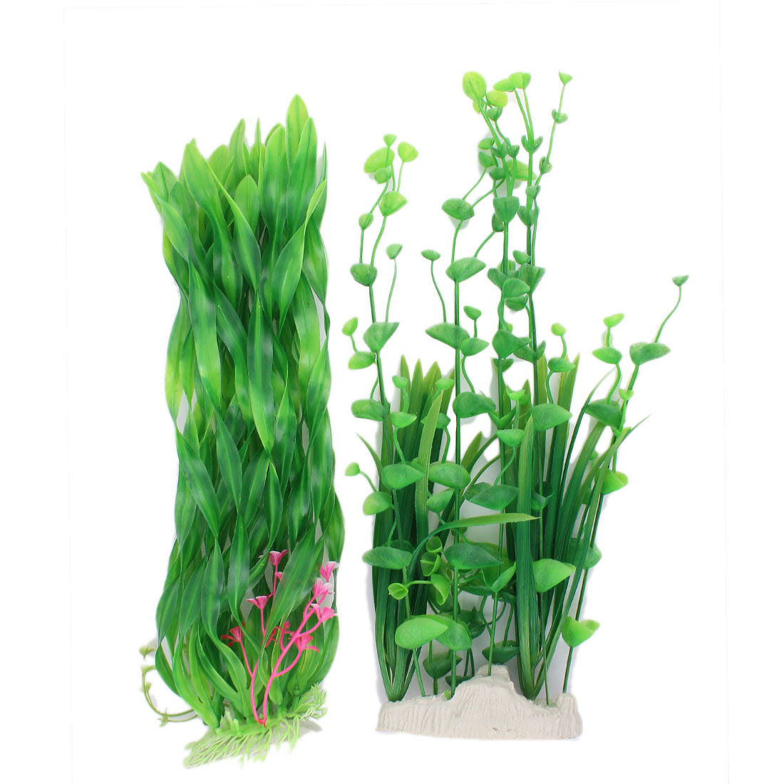 Plastic Grass Adorn Manmade Aquascape Aquarium Sea Plant 35cm High 2PCS