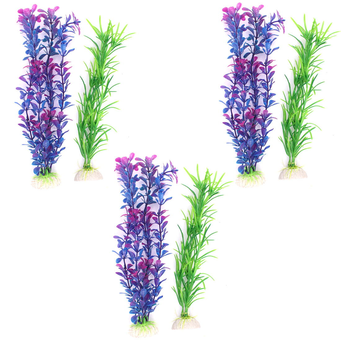 Plastic Landscape Aquascaping Aquarium Plant Underwater Grass Decor Purple 6PCS
