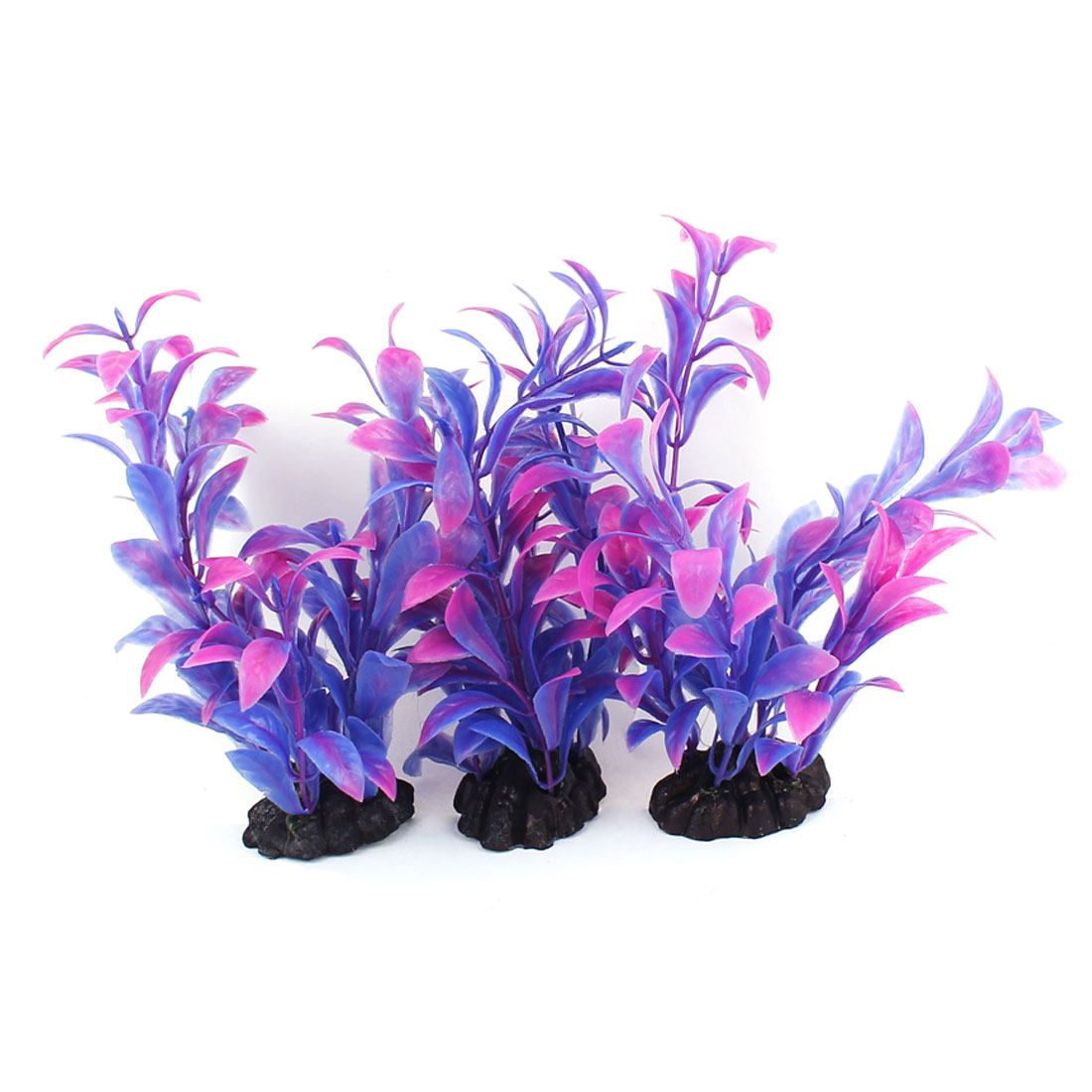 Plastic Leaf Aquatic Plant Fish Tank Aquarium Decor Purple 3PCS