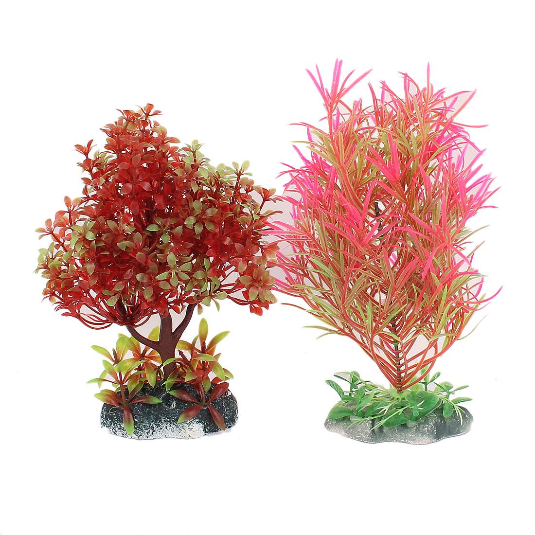Ceramic Base Plastic Sea Weeds Plant Grass Aquarium Decoration 2 Pcs