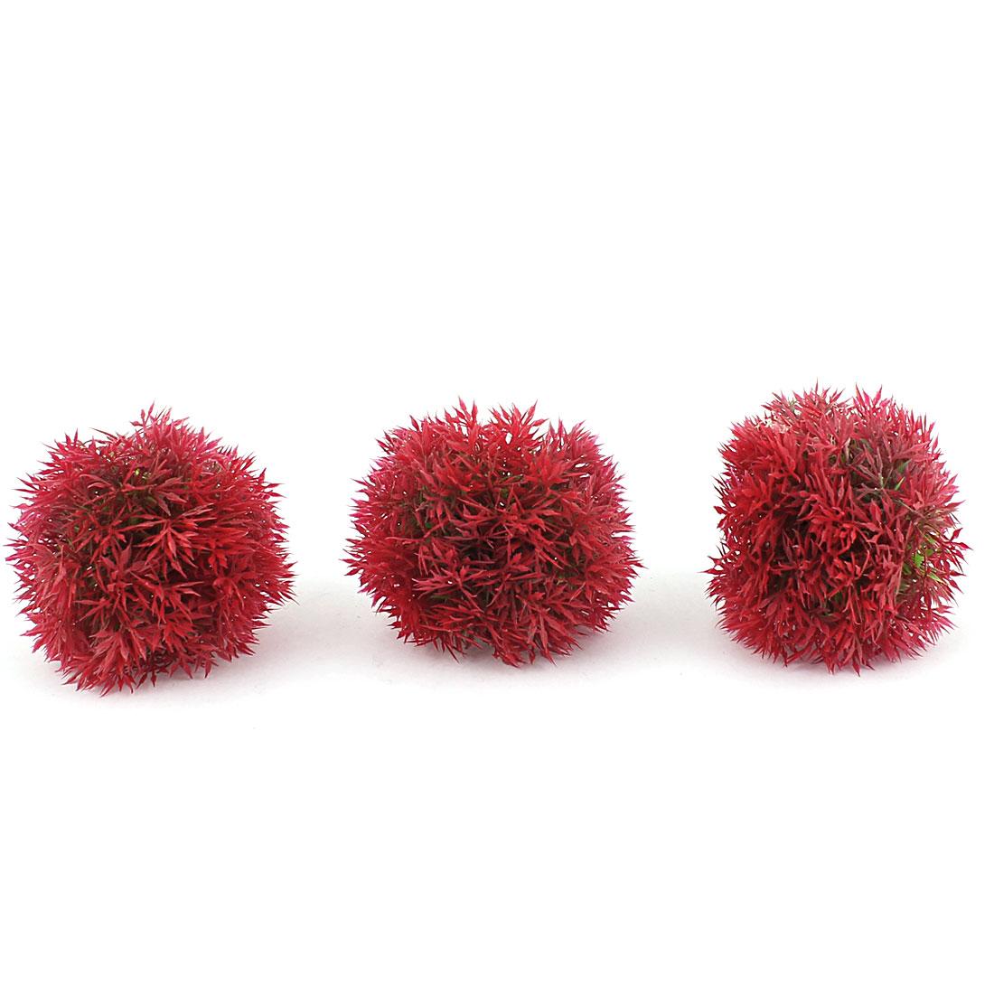 Plastic Leaf Grass Ball Design Aquatic Plant Fish Tank Aquarium Decor Red 3PCS