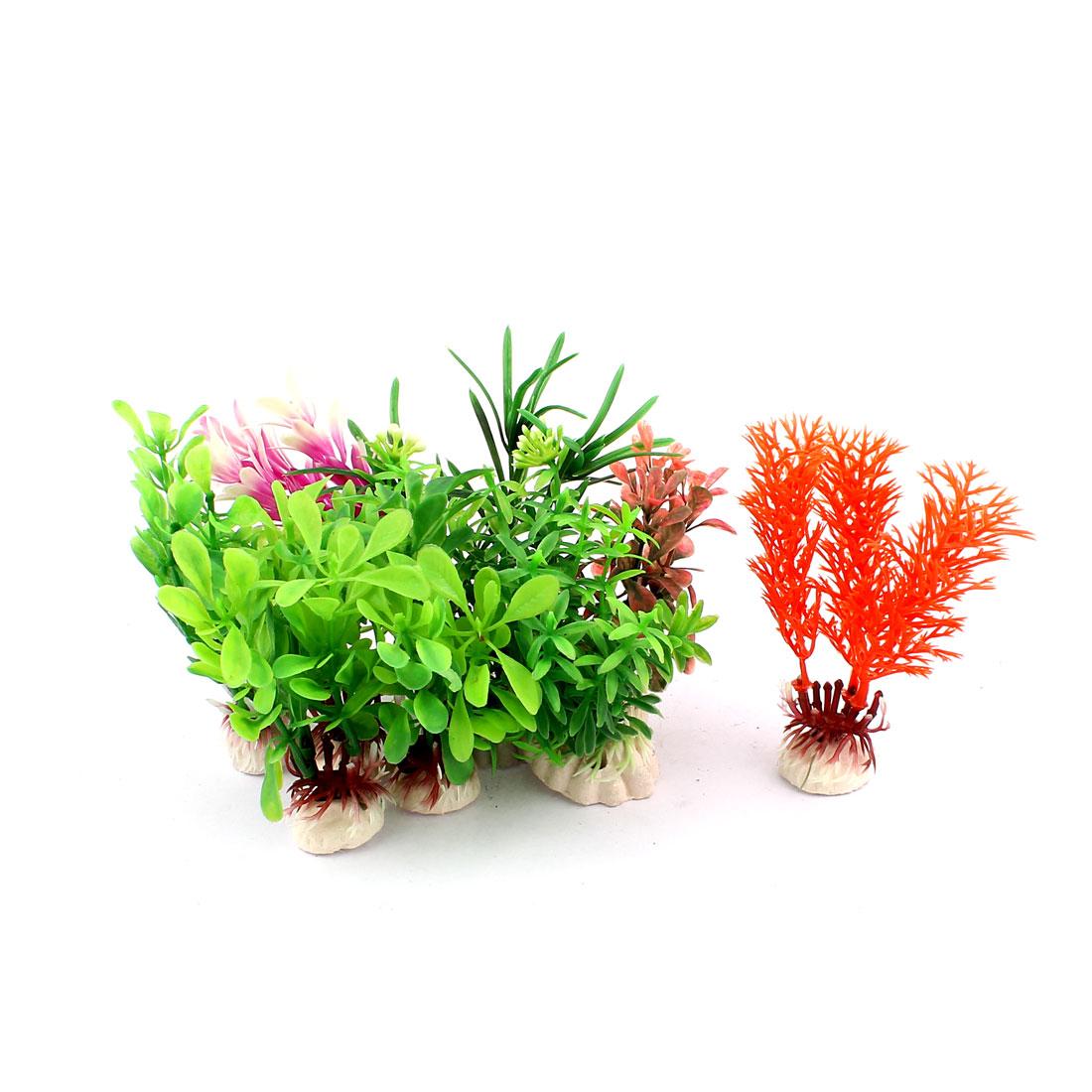 Ceramic Base Plastic Simulation Sea Weeds Aquarium Plant Grass Decoration 10PCS