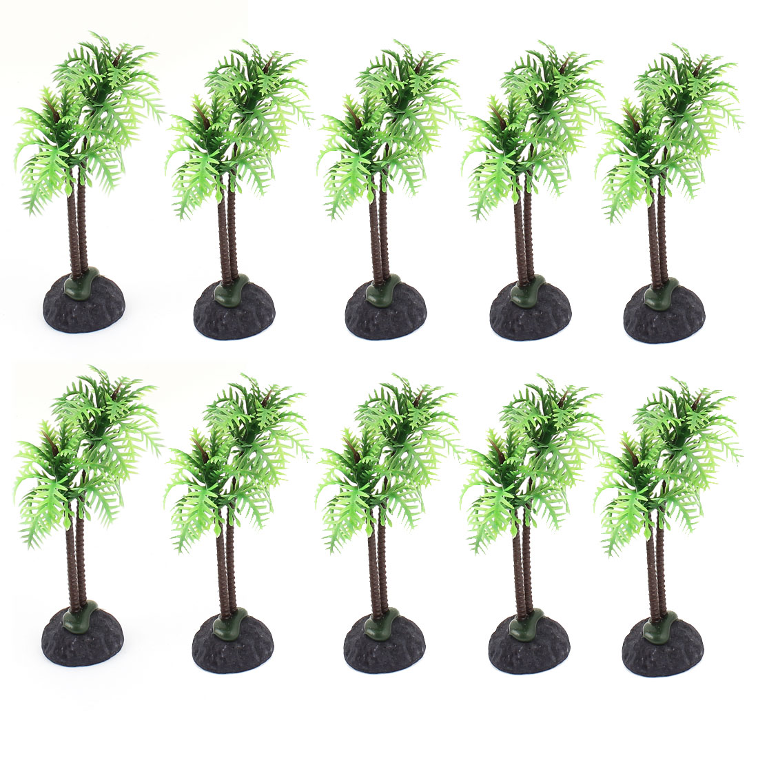 Plastic Coconut Tree Accent Aquatic Plant Fish Tank Aquarium Decor 10PCS