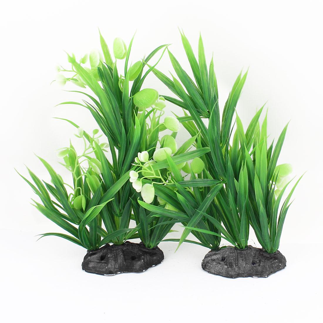 Ceramic Base Plastic Sea Weeds Grass Aquarium Plants Decor 2pcs