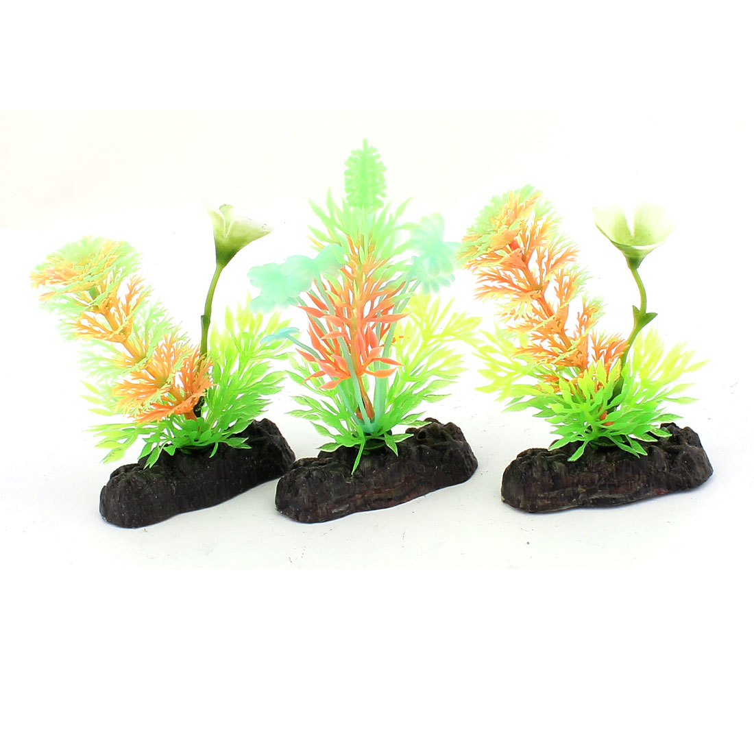 Ceramic Base Plastic Sea Weeds Grass Aquarium Plants Decor 3pcs