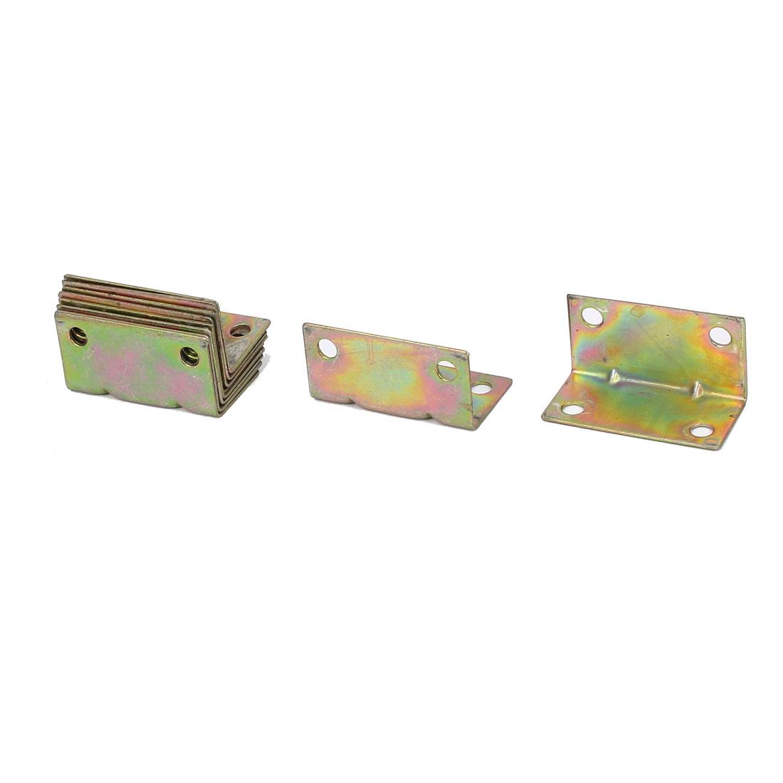 L Shape Corner Brace Joint Right Angle Bracket 20x20x38mm Bronze Tone 10pcs
