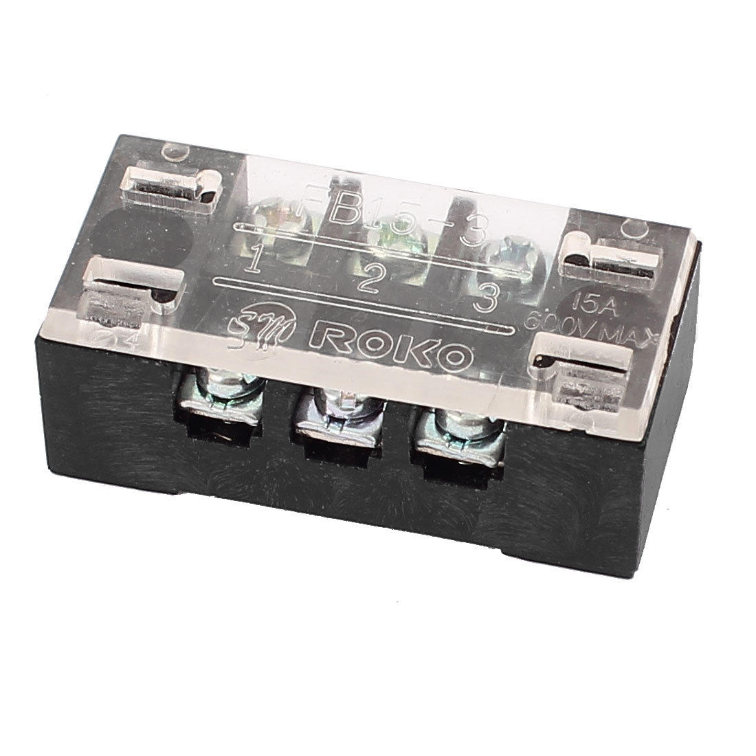 600V 15A Dual Rows 3 Positions Screw Connector Electric Barrier Terminal Block