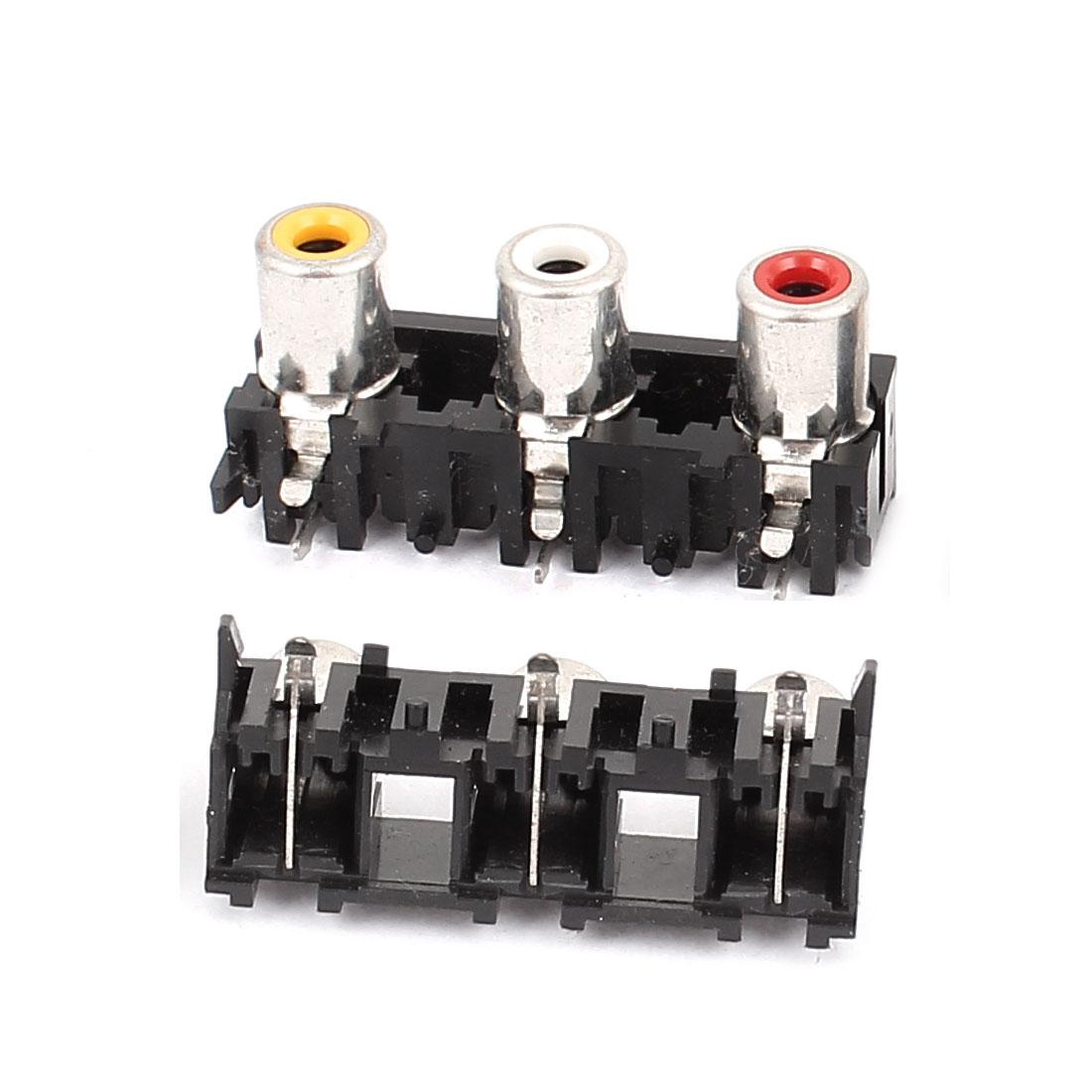 RCA 3 Female Audio Video AV Connector Coverter Adapter Black 2Pcs